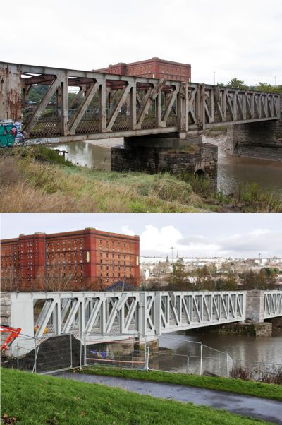 Ashton Avenue Swing Bridge - before and after